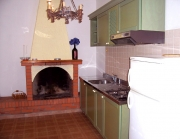 Kitchen corner with fireplace