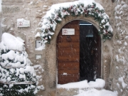 the entrance with the snow