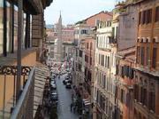 Rom Ferienwohnung: Balkon der Ferienwohnung Babuino in Rom mit herrlicher Sicht auf Via del Babuino