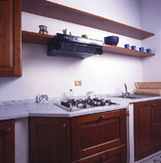 Kitchen of Florio apartment in San Gimignano
