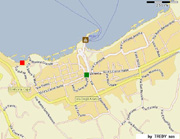 Holiday Apartment in Sorrento: The exact location of Marina Grande Lodging (red square) and the main square of Sorrento (green square)
